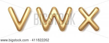 Volumetric Gold V W X 3d Balloons Letters Vector Icons. Glowing Yellow Font With Shiny Highlights An