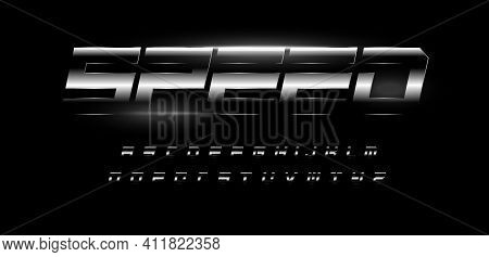 Speed Alphabet. Bold Italic Letters With Glossy Steel Metal Gradient Effect . Dynamic Font For Autom