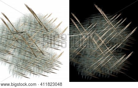 Abstract Arrows Fly Diagonally, Intersecting Against A Backdrop Of Many Small Parallel Lines On Whit