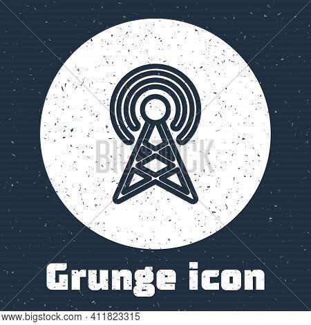 Grunge Line Antenna Icon Isolated On Grey Background. Radio Antenna Wireless. Technology And Network