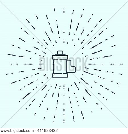 Black Line Camera Vintage Film Roll Cartridge Icon Isolated On Grey Background. 35mm Film Canister.