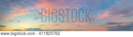 Huge Panoramic view of  Sunset  Sunrise Sundown Sky with colorful clouds, long panorama, crop it