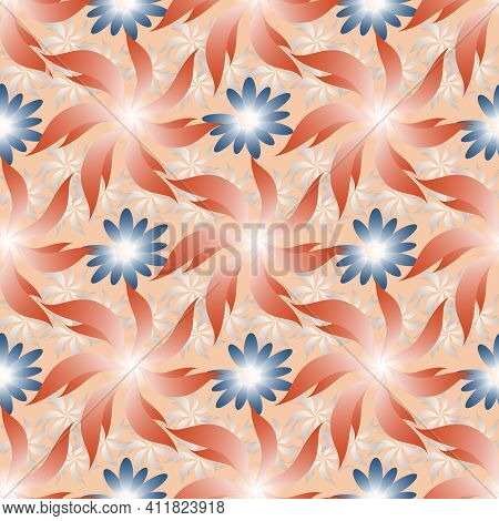 Seamless Pattern With Abstract Flowers On Pink Background.