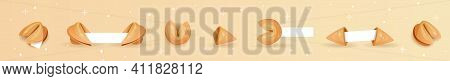 Chinese Fortune Cookies Flat Food Vector Cartoon Set On Colors Background With Elements Of Stars. Fo