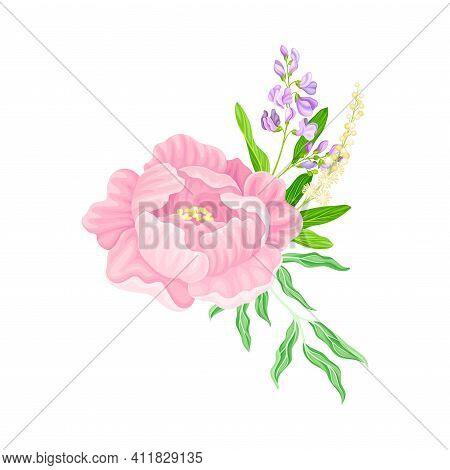 Purple Lush Peony Flower Arranged With Garden Flora Vector Illustration