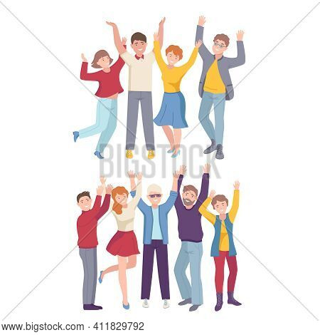 Group Of Joyful People Characters Up With Hands Cheering About Something Vector Illustration Set