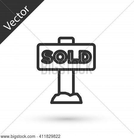 Grey Line Hanging Sign With Text Sold Icon Isolated On White Background. Sold Sticker. Sold Signboar
