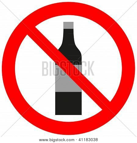 Prohibitory Sign With An Alcohol Bottle.eps