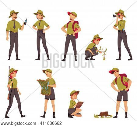 Male And Female As Park Ranger Or Forest Rangers Protecting And Preserving National Parklands Vector