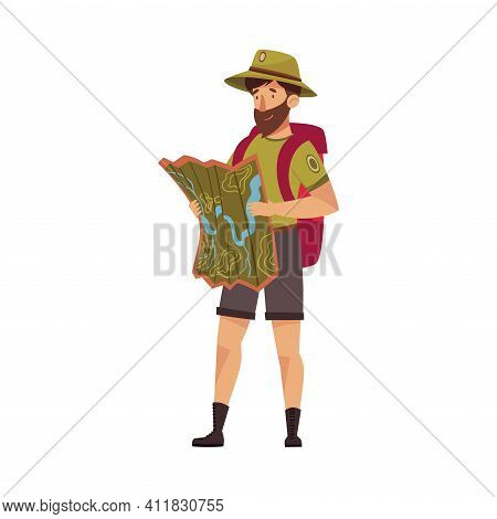 Bearded Male Park Ranger In Khaki Hat And Shorts Examining Map Of Local Area Vector Illustration