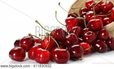 Cherries In A Bowl Natural Fruit Cherry Fresh And Healthy Food Berries With White Background Juicy S