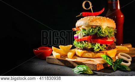 Burger And Fries Tasty And Delicious Burger Fresh And Healthy Burger Cooked Food Meal Lunch Breakfas