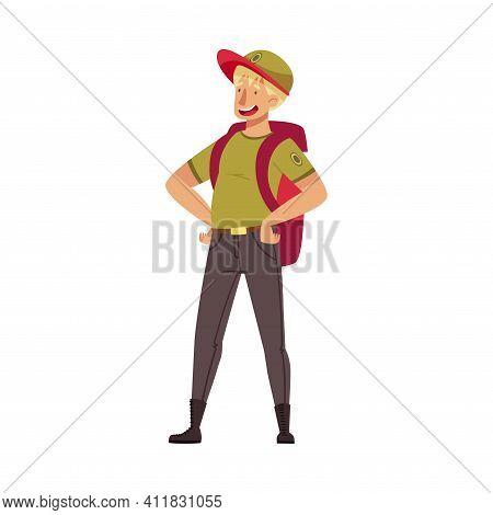 Blond Man As Park Ranger In Khaki Cap Standing With Backpack Vector Illustration