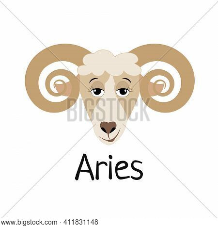Funny Cartoon Aries - Zodiac Sign. Vector Illustration For Print, Postcard, Calendar, Etc.