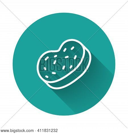 White Line Bath Sponge Icon Isolated With Long Shadow Background. Sauna Sponge. Green Circle Button.