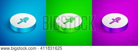 Isometric Line Cross Ankh Icon Isolated On Blue, Green And Purple Background. White Circle Button. V