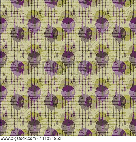 Abstract Paint Drip Weave Effect Grid Seamless Vector Pattern Background. Overlapping Purple Green D