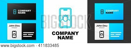 Blue Line System Bug On Mobile Icon Isolated On White Background. Code Bug Concept. Bug In The Syste