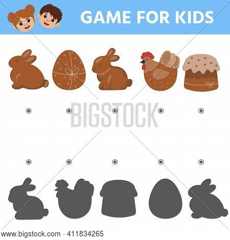 Education Game For Kids. Find The Correspondence Of The Picture With The Shadow. Easter Gingerbread.