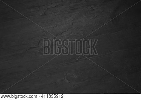 Black Slate Surface As Background, Top View