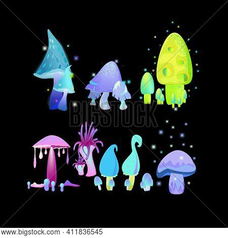 A Set Of Fantastic Fairy Mushrooms Isolated On A Black Background. Vector Illustration, Divided Into