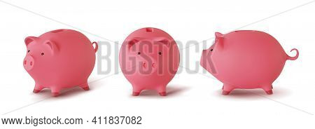 Set 3d Realistic Moneybox In The Form Of Pig Isolated On White Background, Vector