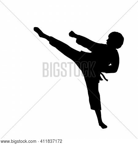 Silhouette Child Athlete Training Martial Art. Illustration Graphics Icon Vector