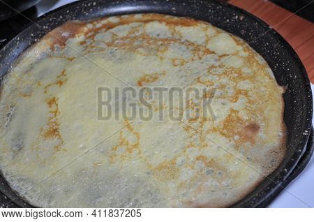 A Pancake On A Rock. Homemade Food. Food With Your Own Hands. Traditional Cuisine. The Oilseed. Russ