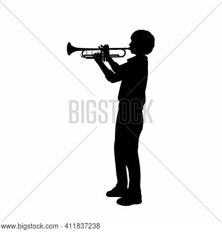 Silhouette Boy Playing The Trumpet. Illustration Graphics Icon Vector