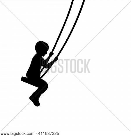 Silhouette Young Boy On Swings Sideways. Illustration Graphics Icon Vector