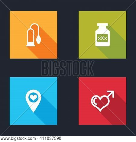 Set Penis Pump, Bottle With Pills For Potency, Location Heart And Male Gender And Icon. Vector