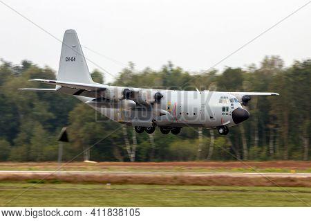 Belgian Air Force Lockheed C-130h Hercules Transport Plane Landing At Kleine-brogel Airbase. Belgium