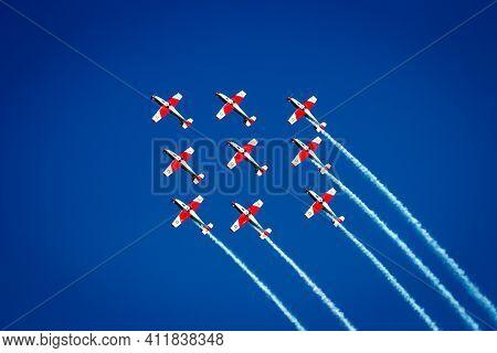 Swiss Air Force Pilatus Pc-9 Trainer Planes Aerobatic Formation Flight At The Airshow On Kleine-brog