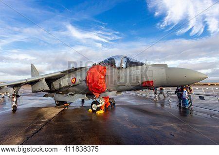 Torrejon, Spain - Oct 11, 2014: Spanish Navy Av-8s Matador Harrier Jump Jet Plane On The Tarmac Of T