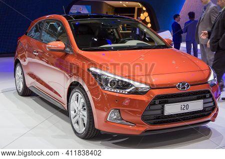 Geneva, Switzerland - March 4, 2015: Hyundai I20 Car At The 85th International Geneva Motor Show In