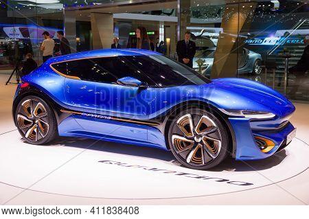 Geneva, Switzerland - March 4, 2015: Nanoflowcell Quant F Quantino Concept Car At The 85th Internati