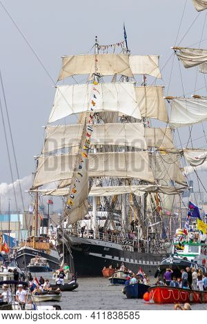 Amsterdam, Netherlands - August 19, 2015: Barque Sailing Ship Belem In The North Sea Canal Enroute T