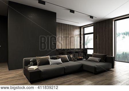 Modern, Black Minimalist Interior With Kitchen, Sofa, Wood Floor, Wall Panels And Marble Kitchen Isl