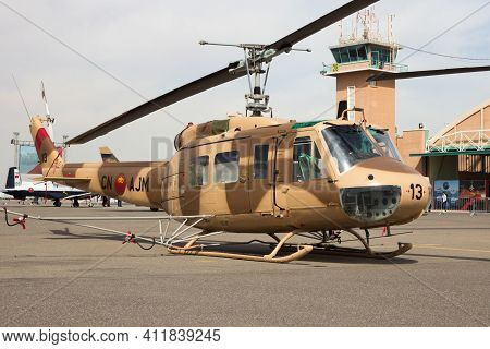 Marrakech, Morocco - Apr 28, 2016: Royal Moroccan Air Force Uh-1 Huey Helicopter On Display At The M