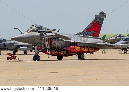 Zaragoza, Spain - May 20,2016: French Navy Rafale Fighter Jet Plane On The Tarmac Of Zaragoza Airbas
