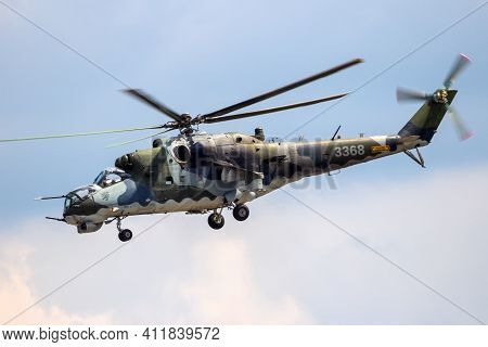 Berlin, Germany - Jun 2, 2016: Czech Air Force Mil Mi-24 Hind Attack Helicopter In Flight During The