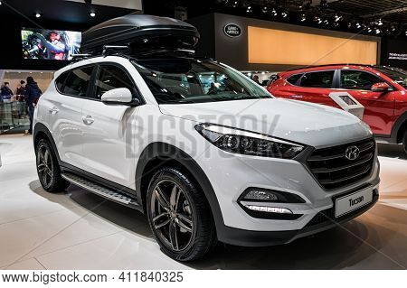 Brussels - Jan 19, 2017: New 2017 Hyundai Tucson Car Presented At The Motor Show Brussels.