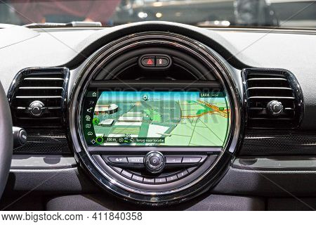 Brussels - Jan 19, 2017: Dashboard Navigation Inside A Mini Cooper Car On Display At The Motor Show