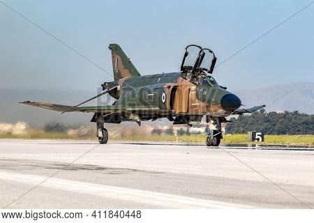 Hellenic Air Force Rf-4e Phantom Ii Reconnaissance Jet Plane Taxiing At Larissa Air Base. Greece - M