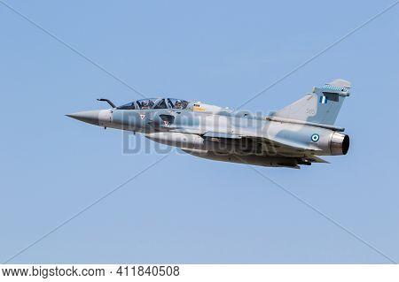 Hellenic Air Force Dassault Mirage 2000 Fighter Jet Plane In Flight Over Larissa Air Base. Greece -