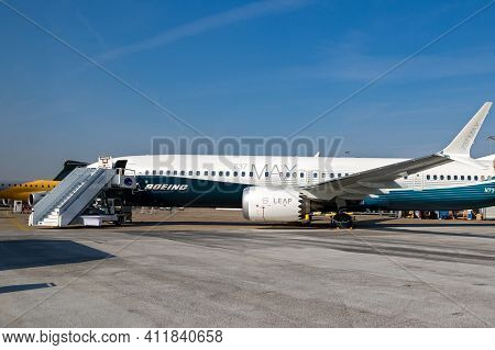 Boeing 737-9 Max Passenger Plane At The Paris Air Show. France - June 22, 2017