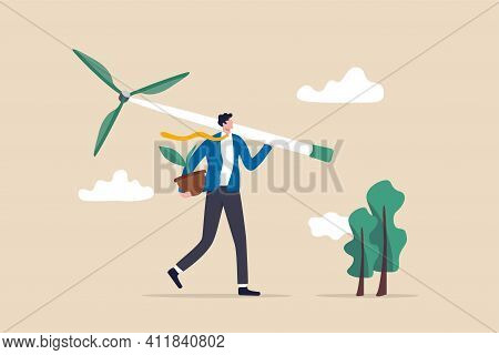 Business Going Green, Environment Eco Friendly In Climate Change Crisis Or Sustainability Concept, S