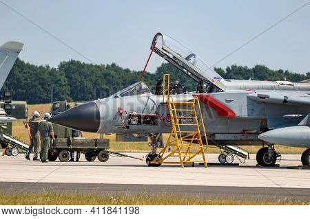Panavia Tornado Bomber Jet From The German Air Force On The Tarmac Of Wunstorf Airbase. Germany - Ju