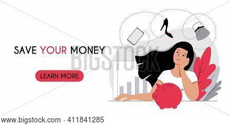 Accumulating Saving Money Concept. Horizontal Banner Header Web Template. Woman Saves Money With Pig