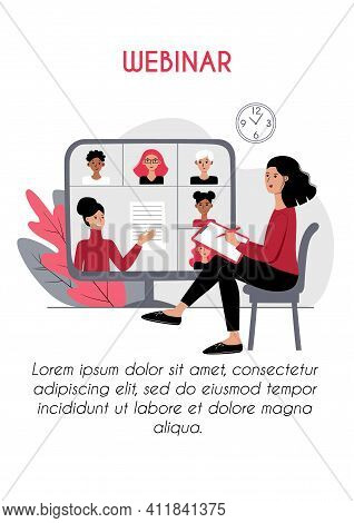 Webinar E Learning Vertical Poster Brochure Flyer Concept. Young Woman Listening Lesson At Home. Vid